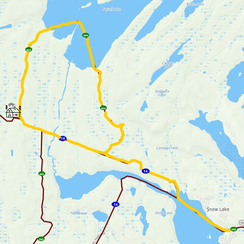 snow lake snowmobile trail 25km