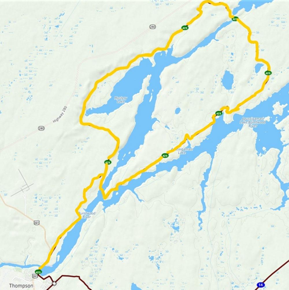 Thompson to Moak Lake Snowmobile Trail 62km